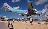 St. Maarten's Maho Bay beach near Princess Juliana International Airport